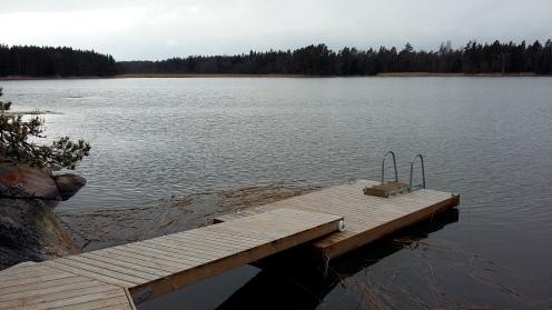 Laituri on talvehtinut ilman vaurioita. Hieman on jäät siirtäneet ankkuripainoja lähemmäs rantaa